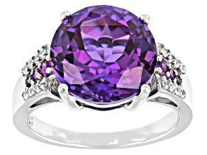 Purple Lab Created Color Change Sapphire, Amethyst & Zircon Rhodium Ring. 7.41ctw