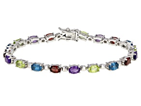 Multi-Color Gemstone Rhodium Over Sterling Silver Tennis Bracelet 8.56ctw