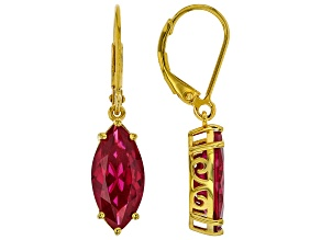 Red Lab Created Ruby 18k Gold Over Silver Earrings 5.61ctw