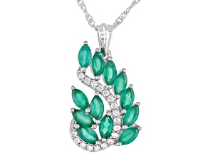 Green Onyx and White Zircon Rhodium Over Sterling Silver Pendant With Chain