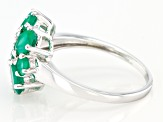 Green Oval Onyx and Green Round Onyx Rhodium Over Sterling Silver Ring 1.76ctw