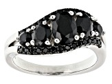 Oval and round black spinel rhodium over sterling silver ring. 1.94ctw