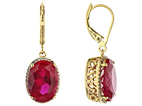 Lab Created Ruby With Round White Topaz 18K Gold Over Silver Dangle Earrings 13.02ctw