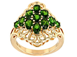 Green chrome diopside 18K yellow gold over sterling silver cluster ring 2.21ctw