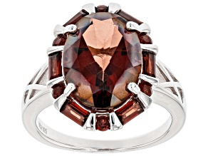 Red labradorite rhodium over sterling silver ring 5.19ctw