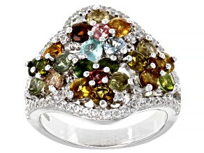 Multi-color tourmaline rhodium over sterling silver ring 2.84ctw