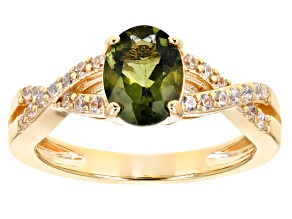 Moldavite With Zircon 18K Yellow Gold Over Sterling Silver Ring 0.96ctw