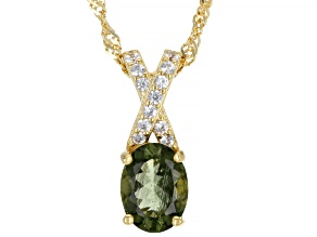 Moldavite With White Zircon 18K Yellow Gold Over Sterling Silver Pendant With Chain 0.87ctw
