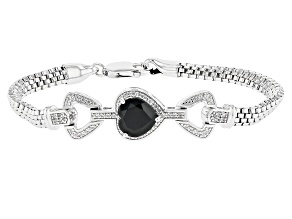 Black Spinel Rhodium Over Sterling Silver Bracelet 3.90ctw