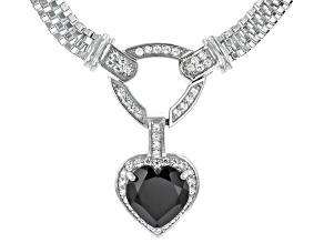 Black Spinel Rhodium Over Sterling Silver Necklace 3.79ctw
