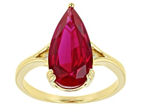 Pear Shape Lab Created Ruby 18k Gold Over Silver Ring 3.83ctw