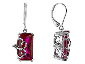 Lab Created Ruby Rhodium Over Sterling Silver Earrings 9.99ctw
