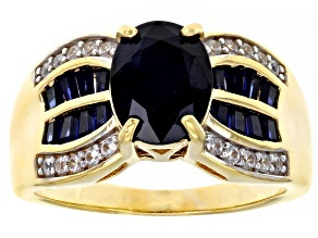Blue Sapphire 18K Gold Over Sterling Silver Ring 2.73ctw