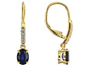 Blue Sapphire 18k Yellow Gold Over Silver Earrings 1.84ctw
