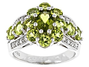 Green Peridot Rhodium Over Sterling Silver Ring 2.84ctw