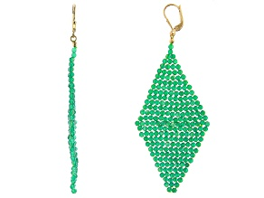 Green Onyx 18k Yellow Gold Over Sterling Silver Woven Kite Earrings