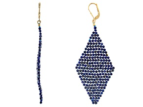 Lapis Lazuli 18k Yellow Gold Over Sterling Silver Woven Kite Earrings