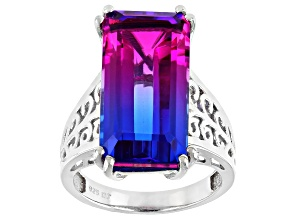 Multicolor Midnight Fuchsia Triplet Quartz Rhodium Over Silver Ring 10.73ct