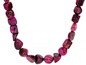 Pink Pink Tiger's Eye Rhodium Over Sterling Silver Necklace