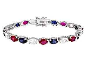 Red Lab Created Ruby Rhodium Over Sterling Silver Bracelet 18.51ctw