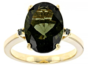 Green Moldavite 18k Yellow Gold Over Silver Ring 3.87ctw