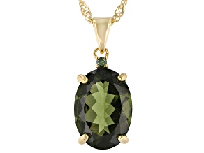 Green Moldavite 18k Gold Over Silver Pendant With Chain 3.85ctw