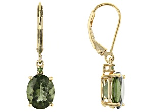 Green Moldavite 18k Gold Over Sterling Silver Earrings 3.40ctw