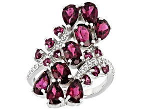 Raspberry Color Rhodolite Rhodium Over Silver Cluster Ring 5.18ctw