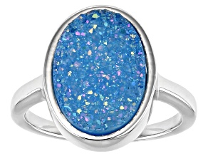 Blue Druzy Quartz Rhodium Over Sterling Silver Ring