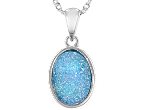 Blue Druzy Quartz Rhodium Over Sterling Silver Solitaire Pendant With Chain
