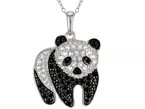 Black spinel Rhodium Over Silver Panda Pendant With Chain 1.34ctw