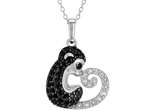 Black Spinel and White Topaz Rhodium Over Silver Monkey Pendant With Chain 0.93ctw