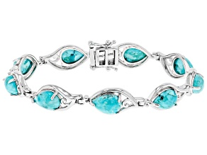 Pear Shape Turquoise Rhodium Over Sterling Silver Tennis Bracelet 10.33ctw