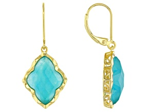 Green Amazonite 18k Gold Over Silver Earrings