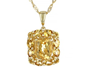 Yellow Citrine 18k Yellow Gold Over Silver Pendant With Chain 2.28ctw