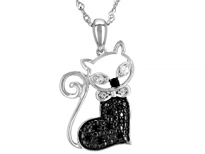Black Spinel Rhodium Over Silver Cat Pendant With Chain 0.22ctw