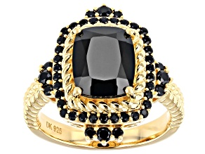 Cushion and Round Black Spinel 18k Yellow Gold Over Silver Ring. 3.38ctw
