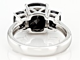 Rectangular Cushion Black Spinel Rhodium Over Sterling Silver 3-Stone Ring 3.91ctw