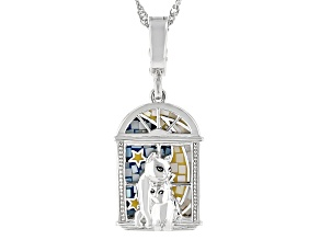 Multi-Color Mother-Of-Pearl Rhodium Over Sterling Silver Cat Pendant With Enhancer