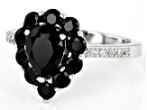 Black spinel rhodium over sterling silver ring. 2.35ctw