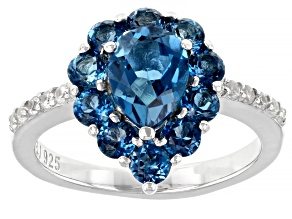 Blue Topaz Rhodium Over Sterling Silver Ring 2.40ctw