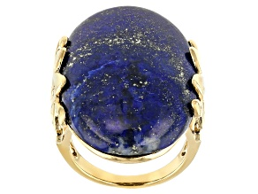 Blue lapis Lazuli 18k Yellow Gold Over Sterling Silver Ring