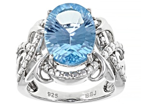Blue Topaz Rhodium Over Sterling Silver Ring 6.21ct