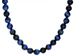 Blue tiger's eye rhodium over sterling silver bead necklace