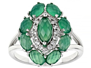 Green Onyx Rhodium Over Sterling Silver Ring 2.19ctw