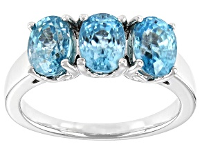 Blue Zircon Rhodium Over Sterling Silver 3-stone Ring 3.80ctw