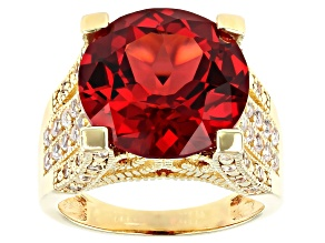Pink Lab Created Padparadscha Sapphire 18k Gold Over Silver Ring 11.90ctw