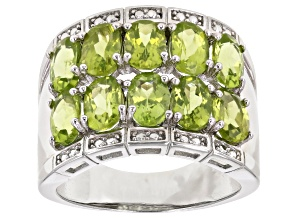Green Peridot Rhodium Over Sterling Silver Ring 3.83ctw