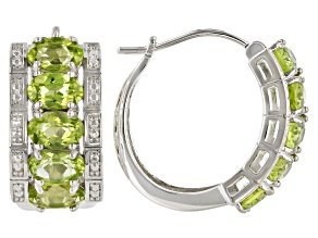 Green Peridot Rhodium Over Sterling Silver Hoop Earrings 3.83ctw