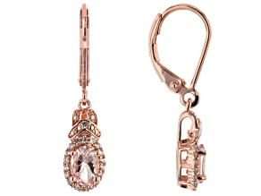 Pink Morganite 18k Rose Gold Over Silver Earrings .90ctw
